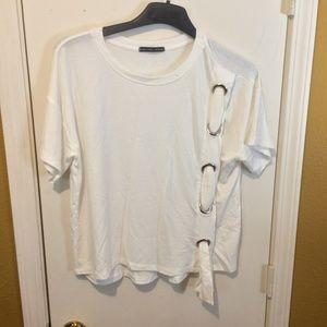 Harlowe & Graham (women's S) white grommet t-shirt